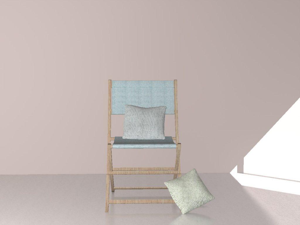 Chaise 3D Bleu Serenity Bakantsa Alki - Design - Réalisation L'Atelier d'Elisa